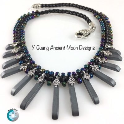Kumihimo Beaded Hematite Fan Flower Necklace